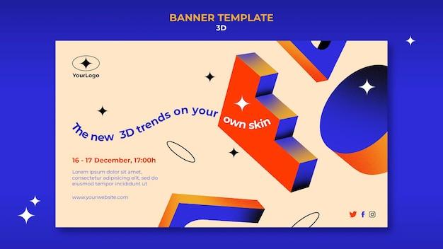 Bannière horizontale pour les tendances 3d