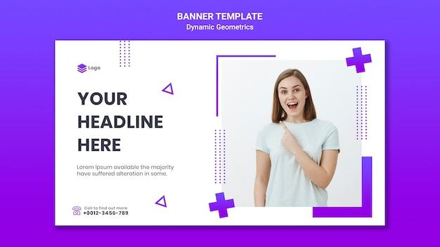 Bannière horizontale pour thème gratuit avec géométrie dynamique