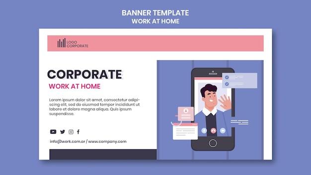 Bannière horizontale pour travailler à domicile