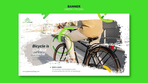Bannière horizontale pour le vélo vert