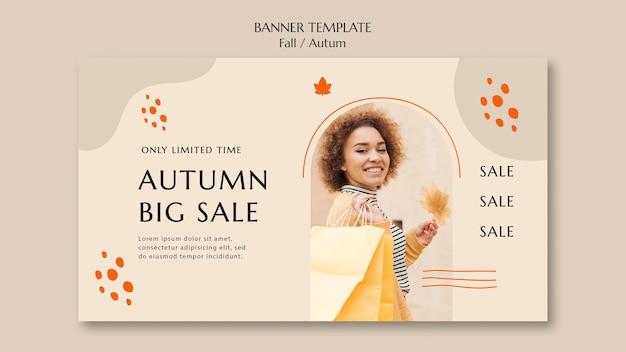 Bannière horizontale pour la vente d'automne
