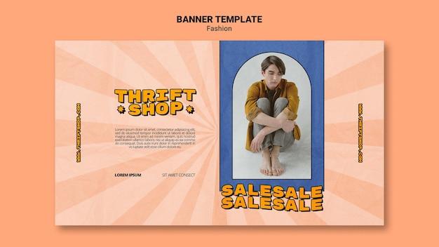 Bannière horizontale pour la vente de mode friperie