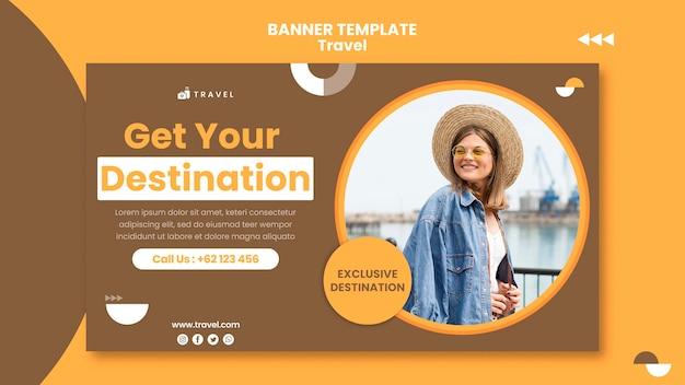 Bannière horizontale pour voyager avec une femme