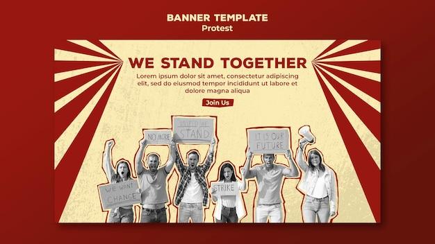 Bannière horizontale avec protestation pour les droits de l'homme