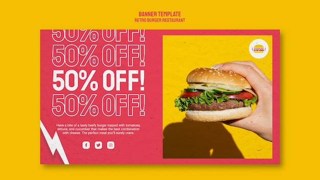 Bannière horizontale de restaurant burger rétro