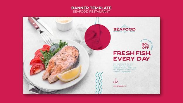 Bannière horizontale de restaurant de fruits de mer