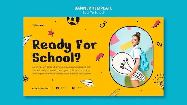 Bannière horizontale de retour à l'école