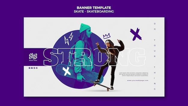 Bannière horizontale de style de vie de skateboard