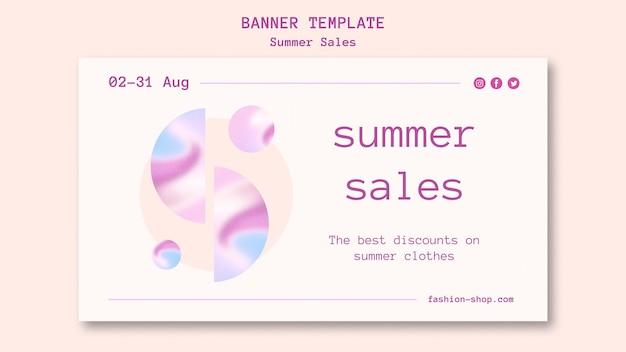 Bannière horizontale de vente d'été