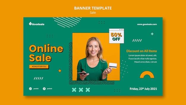 Bannière horizontale de vente en ligne
