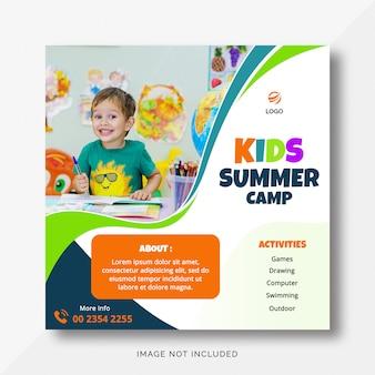 Bannière instagram du camp d'été pour enfants