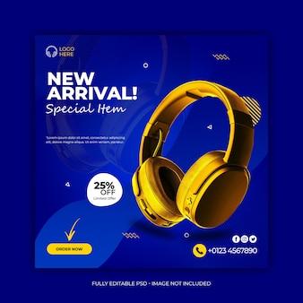 Bannière instagram de médias sociaux de produit de marque de casque de couleur dorée
