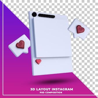 Bannière instagram de mise en page avec notification comme le rendu 3d