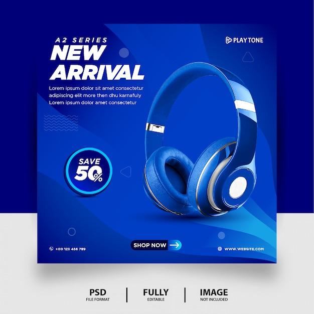 Bannière instagram de produit de marque de casque de couleur bleue