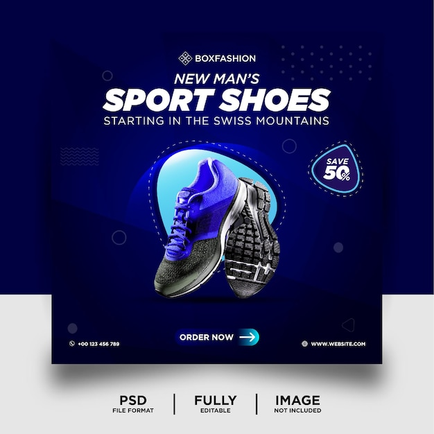 Bannière instagram de produit de marque de chaussures de sport de couleur dégradé bleu