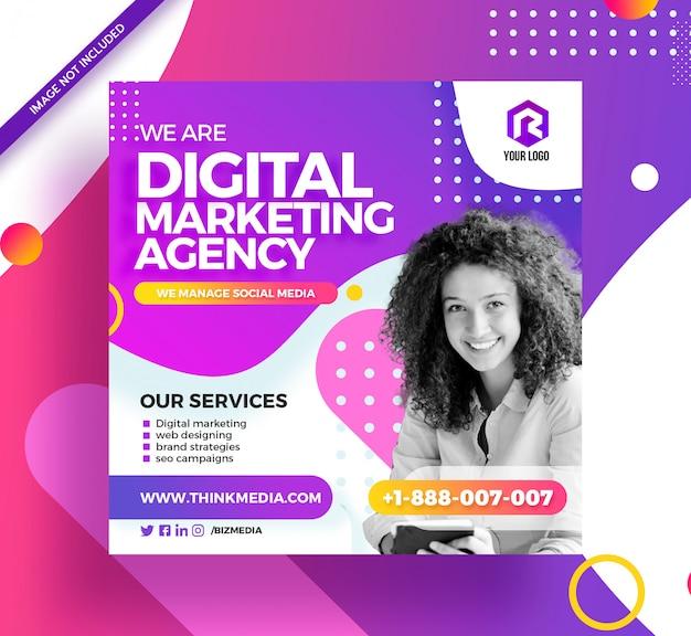 Bannière instagram de publication de médias sociaux de marketing numérique