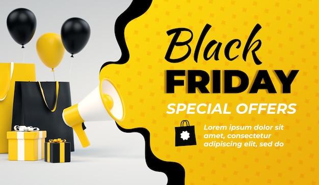 Bannière jaune de vente vendredi noir avec mégaphone et espace de copie en rendu 3d