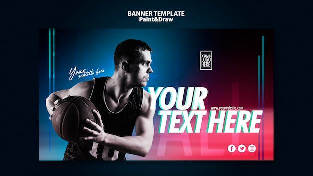 Bannière de joueur de basket avec photo