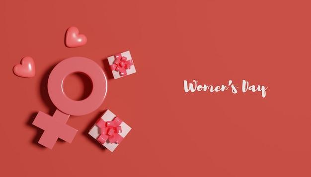 Bannière de la journée des femmes de rendu 3d avec boîte-cadeau et symbole des femmes