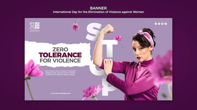 Bannière de la journée internationale pour l'élimination de la violence à l'égard des femmes