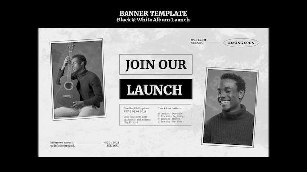 Bannière de lancement d'album noir et blanc