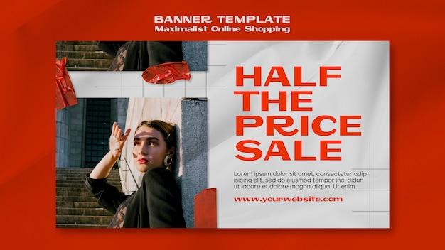 Bannière de magasinage en ligne minimaliste