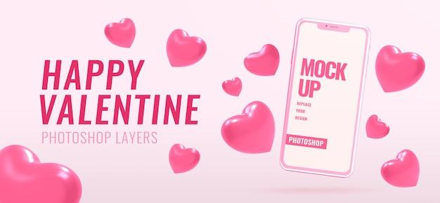 Bannière avec maquette de téléphone pour la saint-valentin avec des formes de coeur