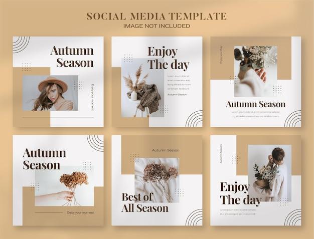 Bannière de médias sociaux d'automne et modèle de publication instagram
