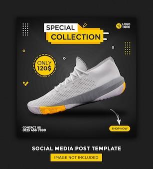 Bannière de médias sociaux de chaussures et conception de modèle de publication instagram