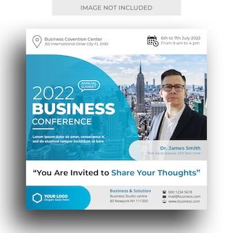 Bannière de médias sociaux de conférence d'affaires et modèle de flyer carré