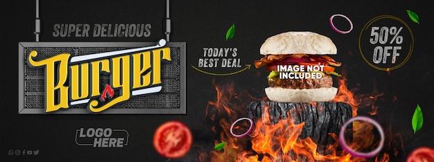 Bannière de médias sociaux delicious burger livraison limitée commander maintenant