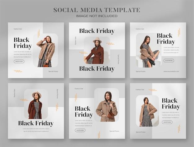 Bannière de médias sociaux du vendredi noir et modèle de publication instagram