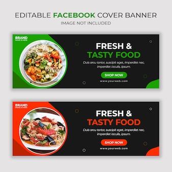 Bannière de médias sociaux facebook de nourriture fraîche et savoureuse