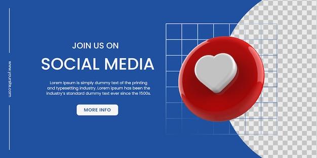 Bannière de médias sociaux avec fond bleu