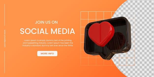 Bannière de médias sociaux avec fond orange