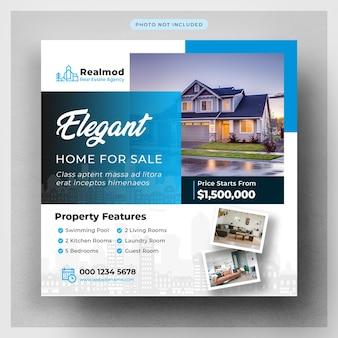 Bannière de médias sociaux immobiliers ou modèle de flyer carré