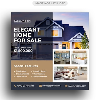 Bannière de médias sociaux immobiliers