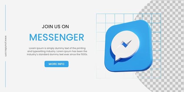 Bannière de médias sociaux messenger avec fond bleu
