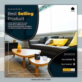 Bannière de médias sociaux de meubles modèle minimal