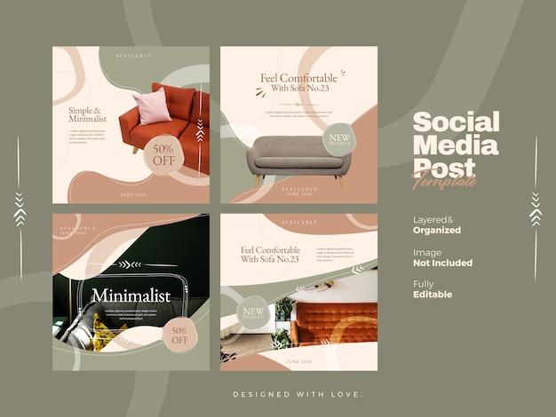 Bannière de médias sociaux de meubles et modèle de publication instagram