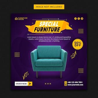 Bannière de médias sociaux de meubles spéciaux et modèle de publication instagram