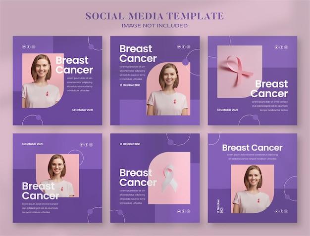 Bannière de médias sociaux et modèle de publication instagram du mois de la sensibilisation au cancer du sein