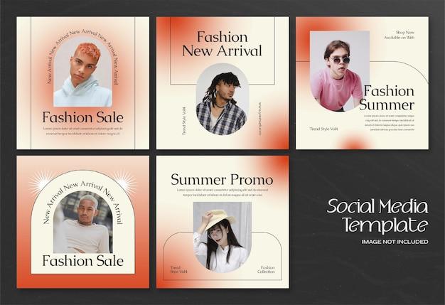 Bannière de médias sociaux modern summer fashion et modèle de publication instagram