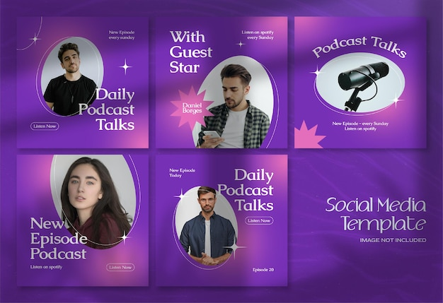 Bannière de médias sociaux podcast moderne et modèle de publication instagram