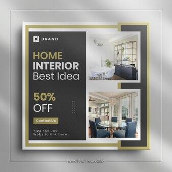Bannière de médias sociaux pour meubles d'intérieur et publication carrée sur instagram avec une maquette de luxe
