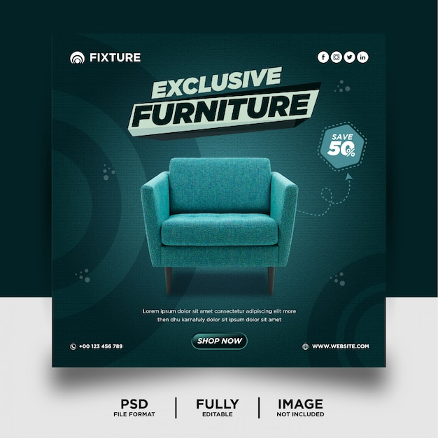 Bannière de médias sociaux de produit de marque de meubles