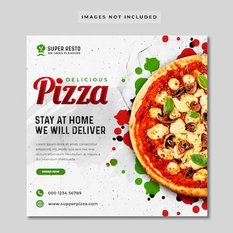 Bannière de médias sociaux de promotion de pizza