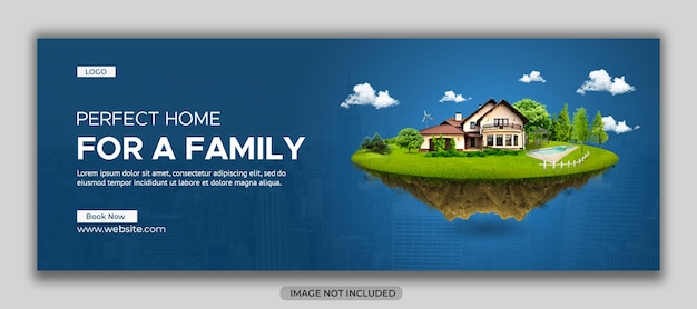Bannière de médias sociaux de propriété immobilière et modèle de couverture facebook