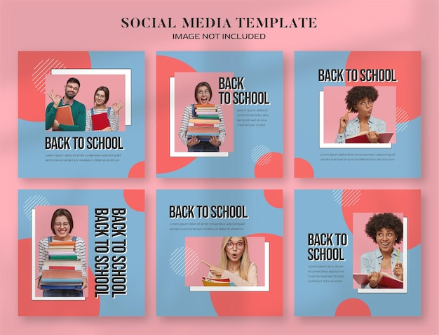 Bannière de médias sociaux de retour à l'école et modèle de publication instagram avec un style informatique rétro esthétique