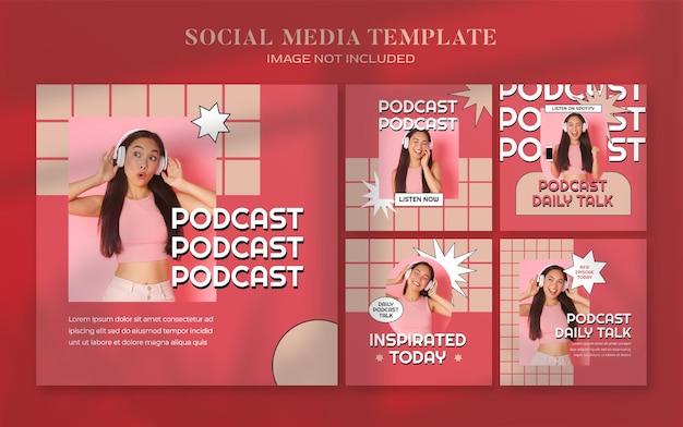 Bannière de médias sociaux retro podcast et modèle de publication instagram